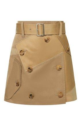 Женская хлопковая юбка JUNYA WATANABE бежевого цвета, арт. JE-S032-051   Фото 1
