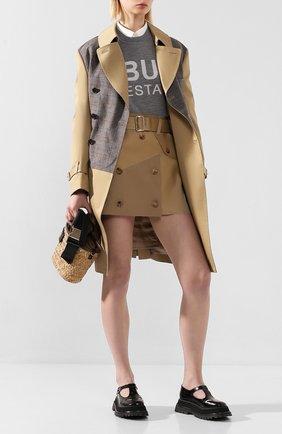 Женская хлопковая юбка JUNYA WATANABE бежевого цвета, арт. JE-S032-051   Фото 2