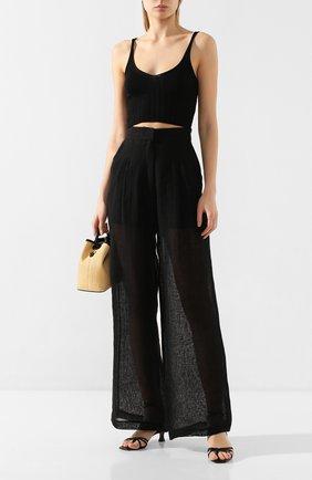 Женские льняные брюки LE KASHA черного цвета, арт. S0HAG00   Фото 2