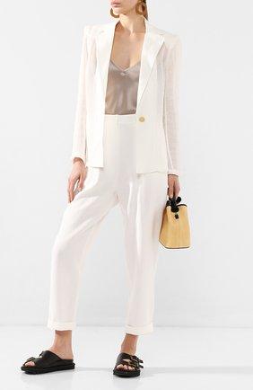 Женские льняные брюки LE KASHA белого цвета, арт. WIDI000   Фото 2