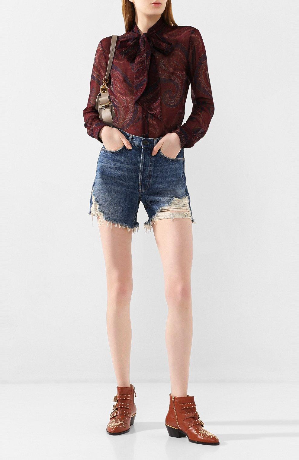 Женские джинсовые шорты 3X1 синего цвета, арт. WSX4S0866/JILL | Фото 2 (Женское Кросс-КТ: Шорты-одежда; Кросс-КТ: Деним; Длина Ж (юбки, платья, шорты): Мини; Материал внешний: Хлопок; Стили: Кэжуэл)