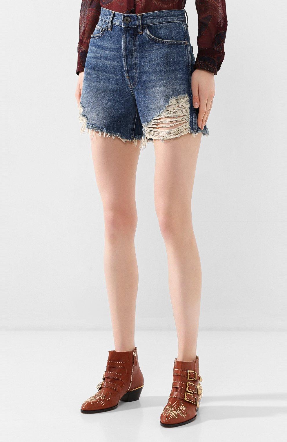 Женские джинсовые шорты 3X1 синего цвета, арт. WSX4S0866/JILL | Фото 3 (Женское Кросс-КТ: Шорты-одежда; Кросс-КТ: Деним; Длина Ж (юбки, платья, шорты): Мини; Материал внешний: Хлопок; Стили: Кэжуэл)