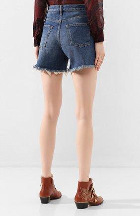 Женские джинсовые шорты 3X1 синего цвета, арт. WSX4S0866/JILL | Фото 4 (Женское Кросс-КТ: Шорты-одежда; Кросс-КТ: Деним; Длина Ж (юбки, платья, шорты): Мини; Материал внешний: Хлопок; Стили: Кэжуэл)