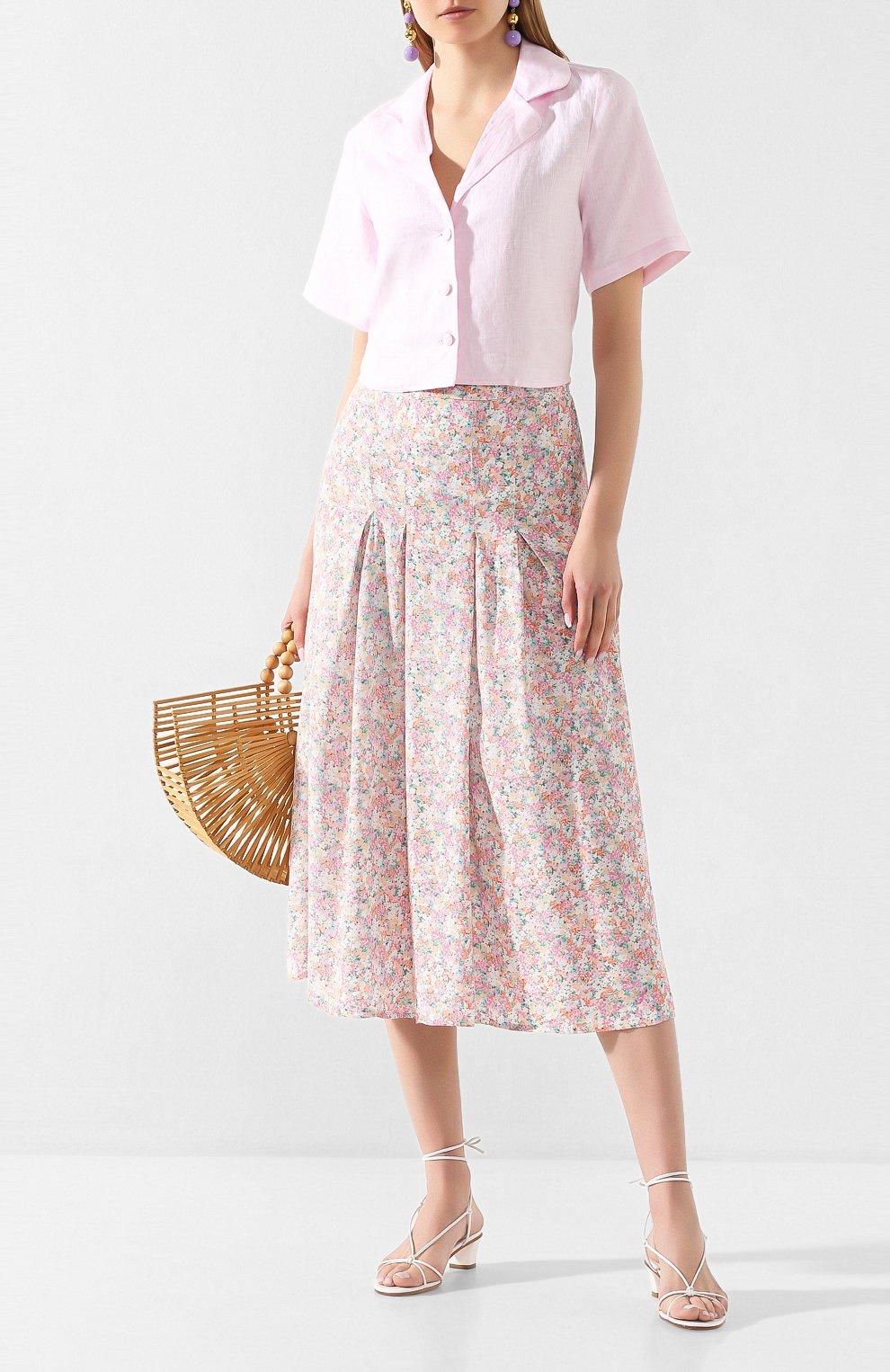 Женская юбка из вискозы FAITHFULL THE BRAND розового цвета, арт. FF1454   Фото 2 (Женское Кросс-КТ: Юбка-одежда; Длина Ж (юбки, платья, шорты): Миди; Материал внешний: Вискоза)