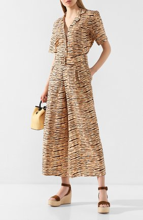 Женские льняные брюки FAITHFULL THE BRAND коричневого цвета, арт. FF1481 | Фото 2