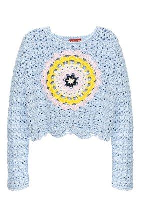 Женская хлопковый свитер ALTUZARRA голубого цвета, арт. 220-8811-KCS002 | Фото 1