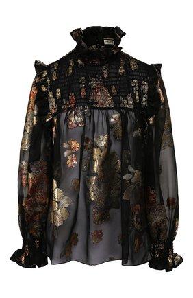 Женская шелковая блузка SAINT LAURENT черного цвета, арт. 618935/Y7A11 | Фото 1