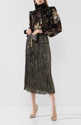 Женская шелковая блузка SAINT LAURENT черного цвета, арт. 618935/Y7A11 | Фото 2