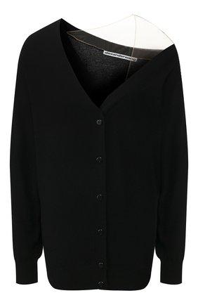 Женский кардиган из смеси шерсти и вискозы ALEXANDER WANG черного цвета, арт. 1KC1203007 | Фото 1