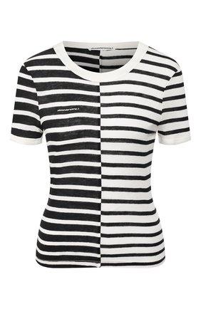 Женская футболка из смеси вискозы и льна ALEXANDERWANG.T черно-белого цвета, арт. 4CC1201062 | Фото 1