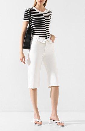 Женская футболка из смеси вискозы и льна ALEXANDERWANG.T черно-белого цвета, арт. 4CC1201062 | Фото 2