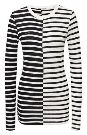 Женская лонгслив из смеси вискозы и льна ALEXANDERWANG.T черно-белого цвета, арт. 4CC1201084 | Фото 1