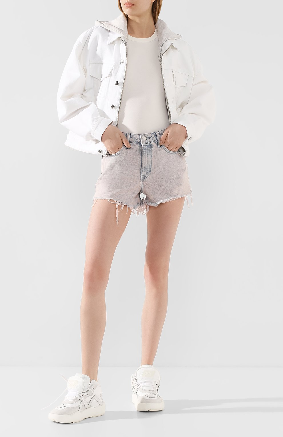 Женские джинсовые шорты DENIM X ALEXANDER WANG розового цвета, арт. 4DC1204552 | Фото 2 (Женское Кросс-КТ: Шорты-одежда; Кросс-КТ: Деним; Длина Ж (юбки, платья, шорты): Мини; Материал внешний: Хлопок; Стили: Кэжуэл)
