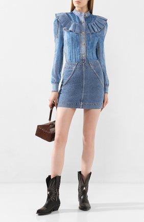 Женская джинсовая юбка PHILOSOPHY DI LORENZO SERAFINI голубого цвета, арт. V0118/2130 | Фото 2