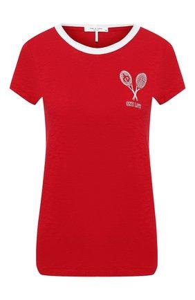 Женская хлопковая футболка RAG&BONE красного цвета, арт. WCC20ST039CH39   Фото 1