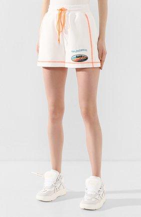 Женские хлопковые шорты STEVE J & YONI P белого цвета, арт. PW2A3W-PC130W | Фото 3 (Женское Кросс-КТ: Шорты-одежда; Длина Ж (юбки, платья, шорты): Мини; Материал внешний: Хлопок; Стили: Спорт)