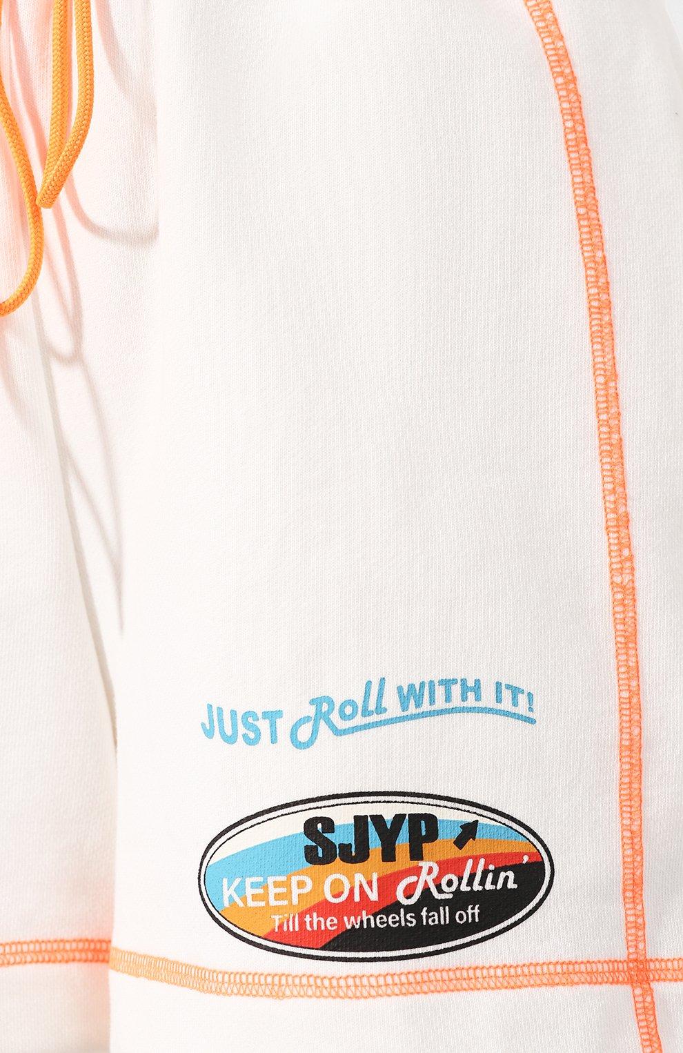 Женские хлопковые шорты STEVE J & YONI P белого цвета, арт. PW2A3W-PC130W | Фото 5 (Женское Кросс-КТ: Шорты-одежда; Длина Ж (юбки, платья, шорты): Мини; Материал внешний: Хлопок; Стили: Спорт)
