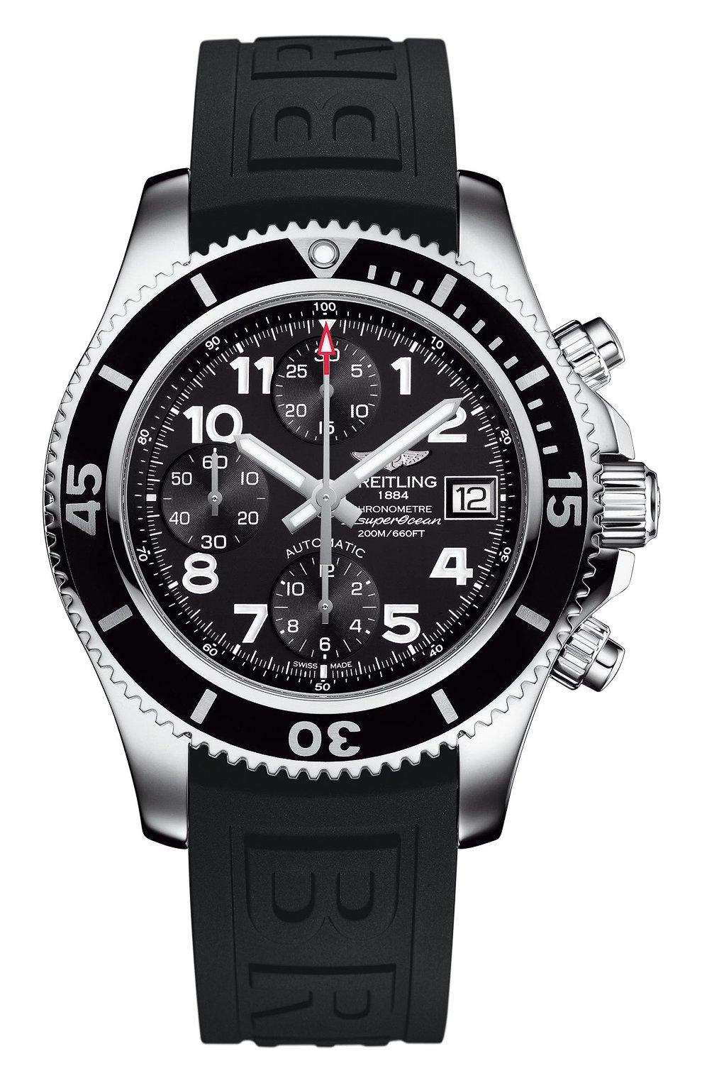Мужские часы superocean chronograph 42 BREITLING черного цвета, арт. A13311C9/BE93/151S | Фото 1