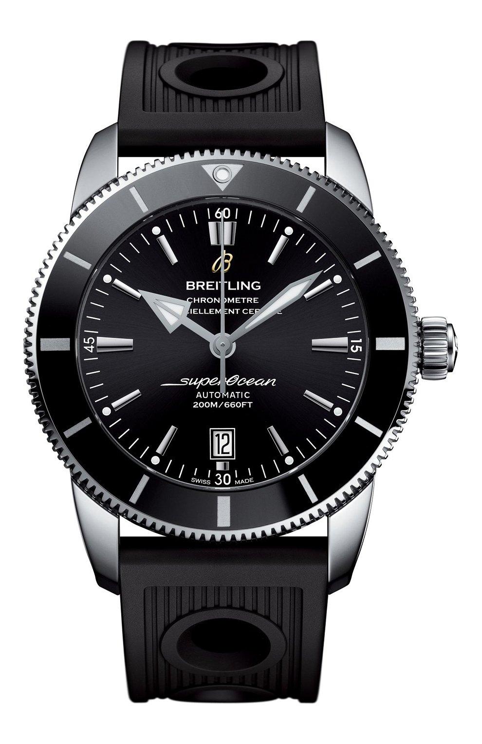 Мужские часы superocean heritage ii BREITLING бесцветного цвета, арт. AB202012/BF74/201S   Фото 1 (Материал корпуса: Другое; Механизм: Автомат; Цвет циферблата: Чёрный)
