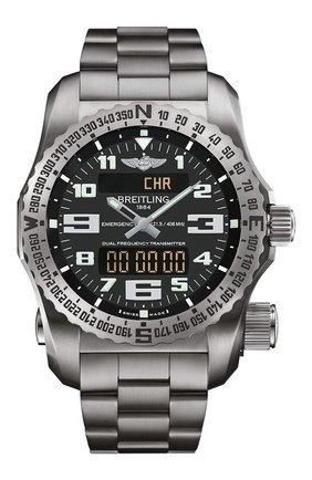 Мужские часы emergency ii BREITLING черного цвета, арт. E76325XA/BC02/159E | Фото 1
