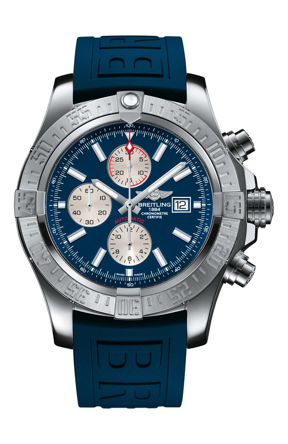 Мужские часы super avenger ii BREITLING синего цвета, арт. A13371111C1S1 | Фото 1