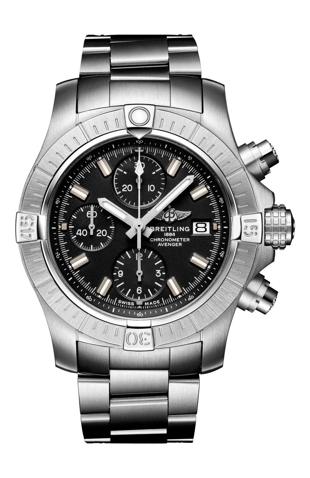 Мужские часы avenger chronograph 43 BREITLING черного цвета, арт. A13385101B1A1 | Фото 1
