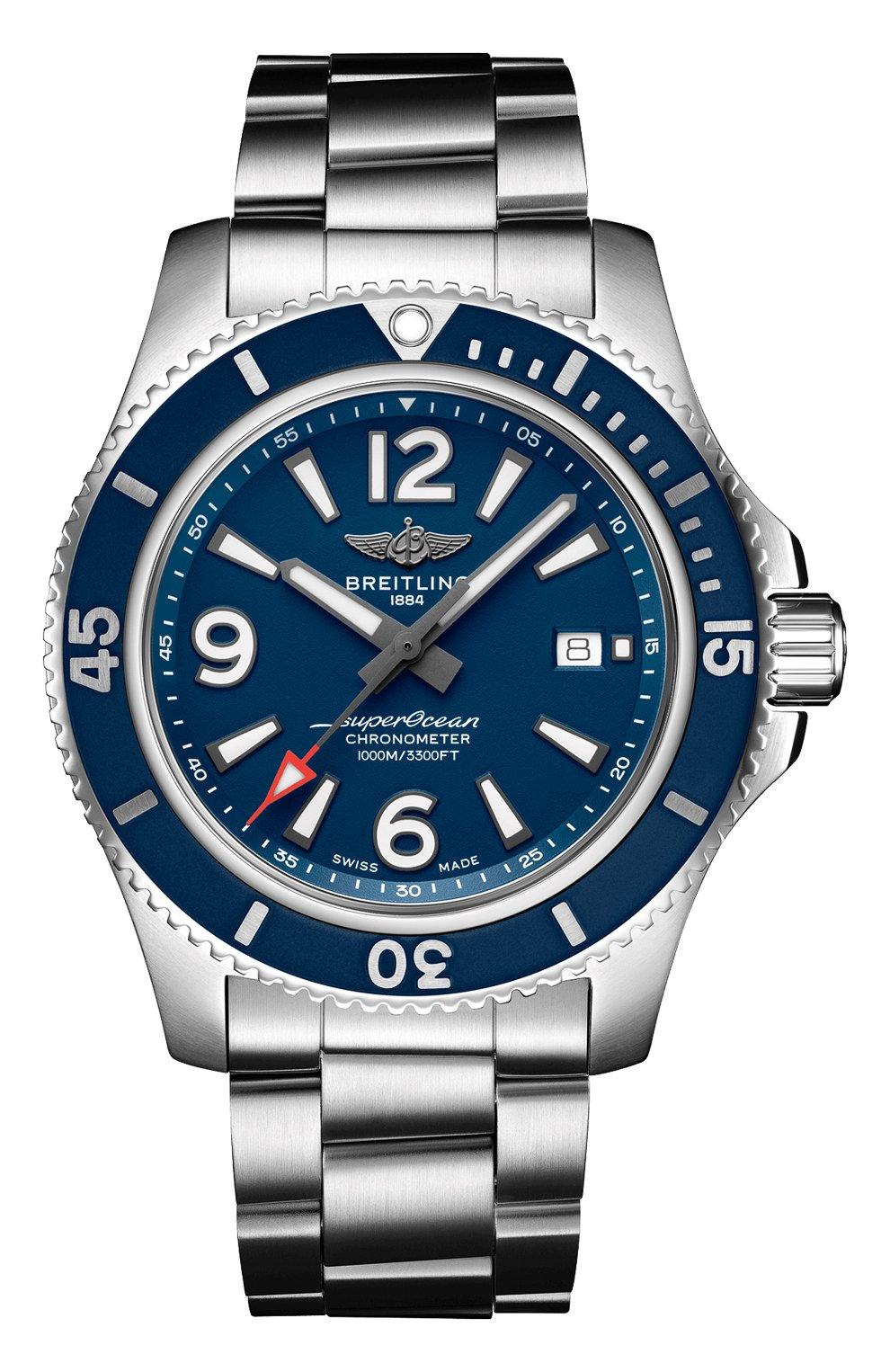 Мужские часы superocean automatic 44 BREITLING бесцветного цвета, арт. A17367D81C1A1   Фото 1 (Механизм: Автомат; Материал корпуса: Сталь; Цвет циферблата: Синий)