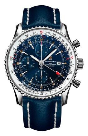 Мужские часы navitimer 1 chronograph gmt 46 BREITLING синего цвета, арт. A24322121C2X1 | Фото 1