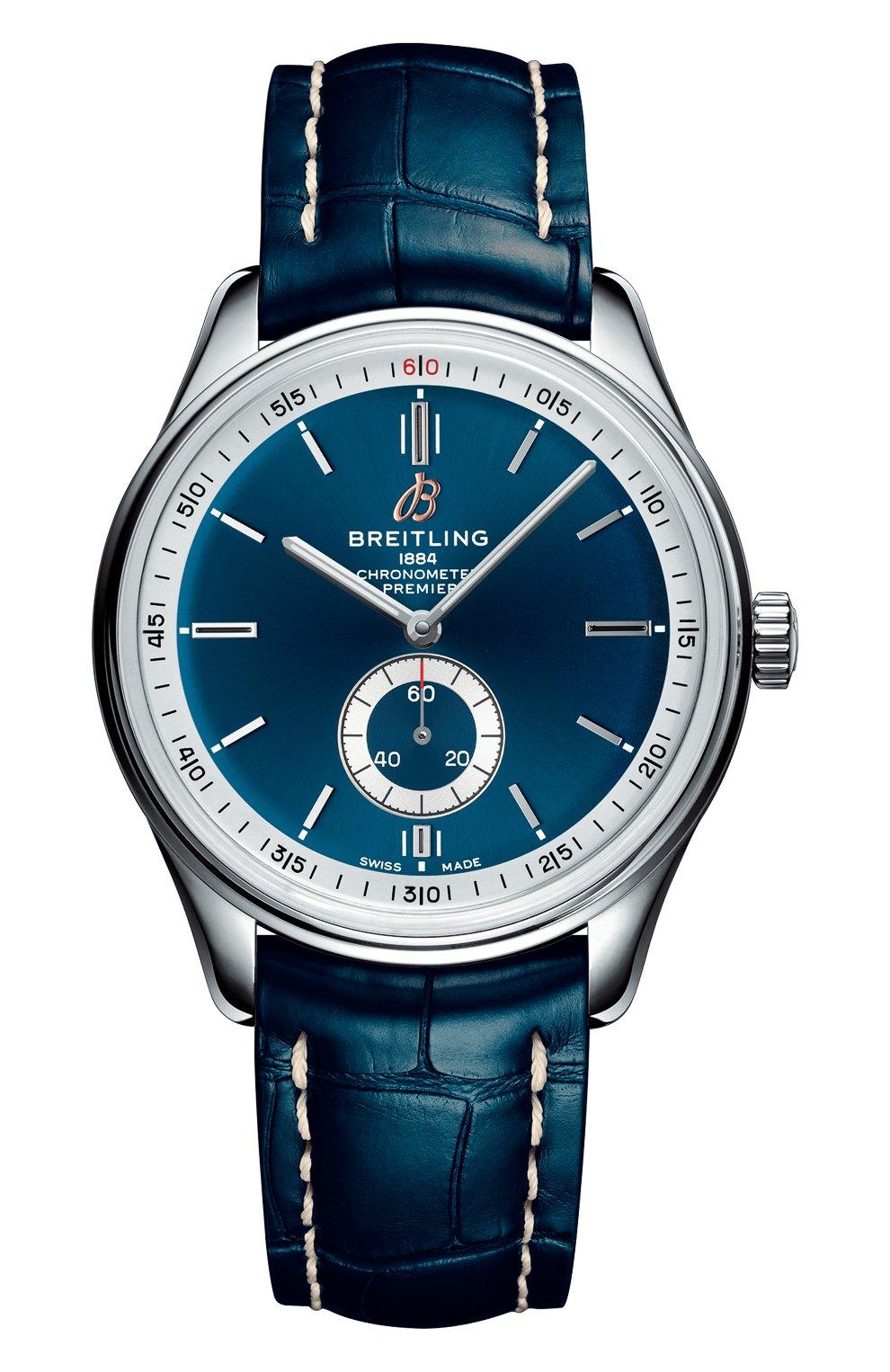 Мужские часы premier automatic 40 BREITLING бесцветного цвета, арт. A37340351C1P1 | Фото 1 (Механизм: Автомат; Материал корпуса: Сталь; Цвет циферблата: Синий)