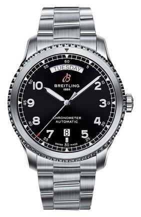 Мужские часы aviator 8 automatic day & date 41 BREITLING черного цвета, арт. A45330101B1A1 | Фото 1