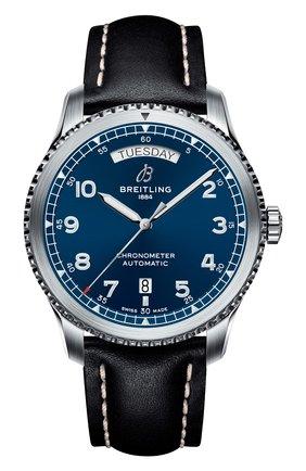 Женские часы aviator 8 automatic day & date 41 BREITLING бесцветного цвета, арт. A45330101C1X1   Фото 1 (Механизм: Автомат; Материал корпуса: Сталь; Цвет циферблата: Синий)