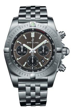 Мужские часы chronomat b01 chronograph 44 BREITLING серого цвета, арт. AB0115101F1A1 | Фото 1
