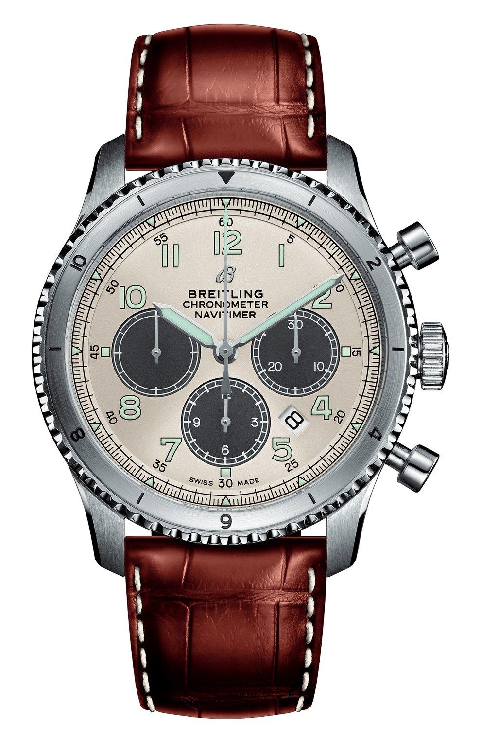Мужские часы b01 chronograph 43 BREITLING серебряного цвета, арт. AB01171A1G1P1 | Фото 1