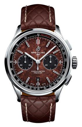 Мужские часы premier b01 chronograph 42 bentley BREITLING коричневого цвета, арт. AB01181A1Q1X1 | Фото 1