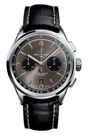 Мужские часы premier b01 chronograph 42 BREITLING темно-серого цвета, арт. AB0118221B1P1 | Фото 1