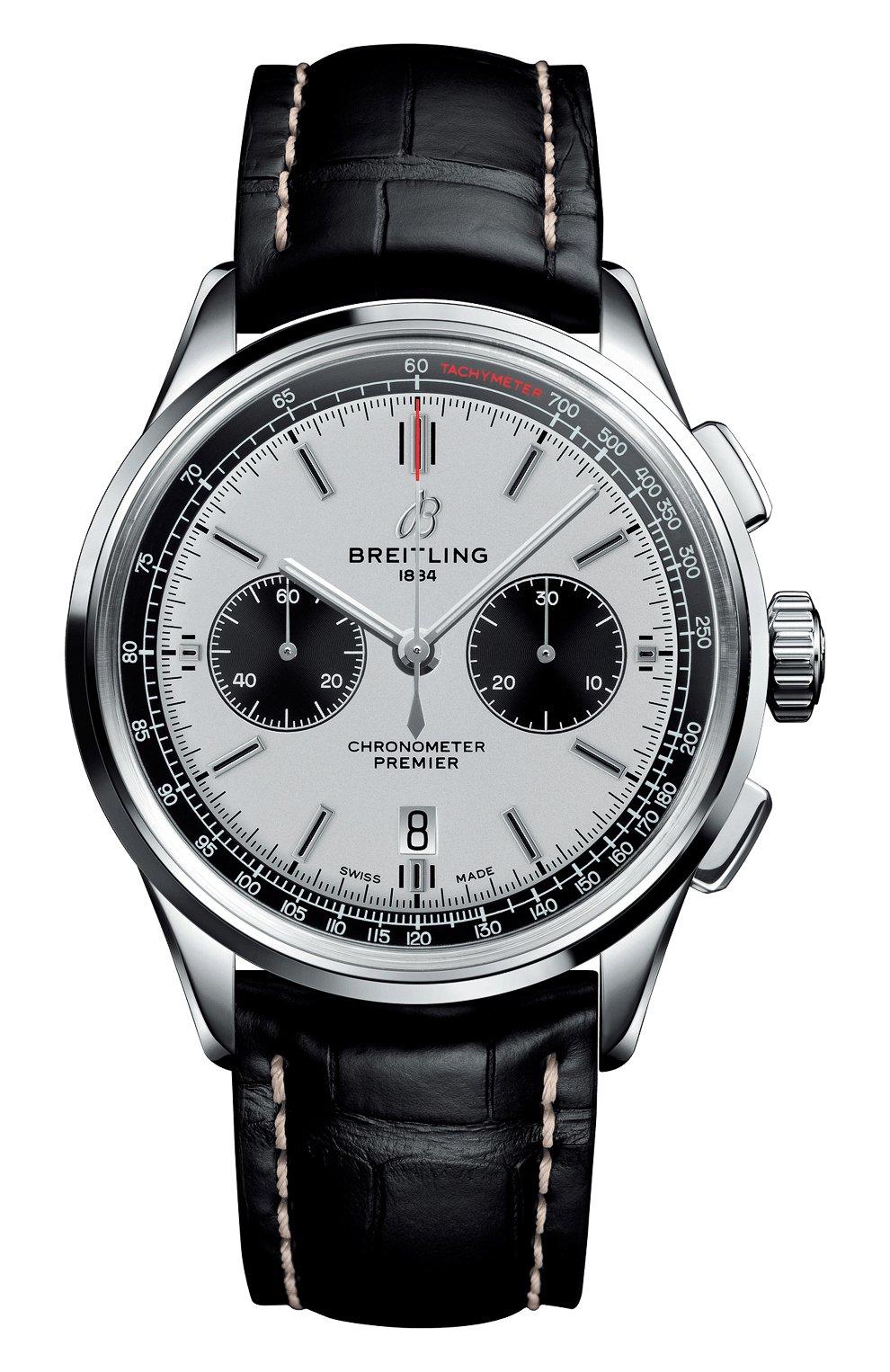 Мужские часы premier b01 chronograph BREITLING бесцветного цвета, арт. AB0118221G1P2   Фото 1 (Механизм: Автомат; Материал корпуса: Сталь; Цвет циферблата: Серебристый)