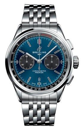 Мужские часы premier b01 chronograph 42 BREITLING синего цвета, арт. AB0118A61C1A1 | Фото 1