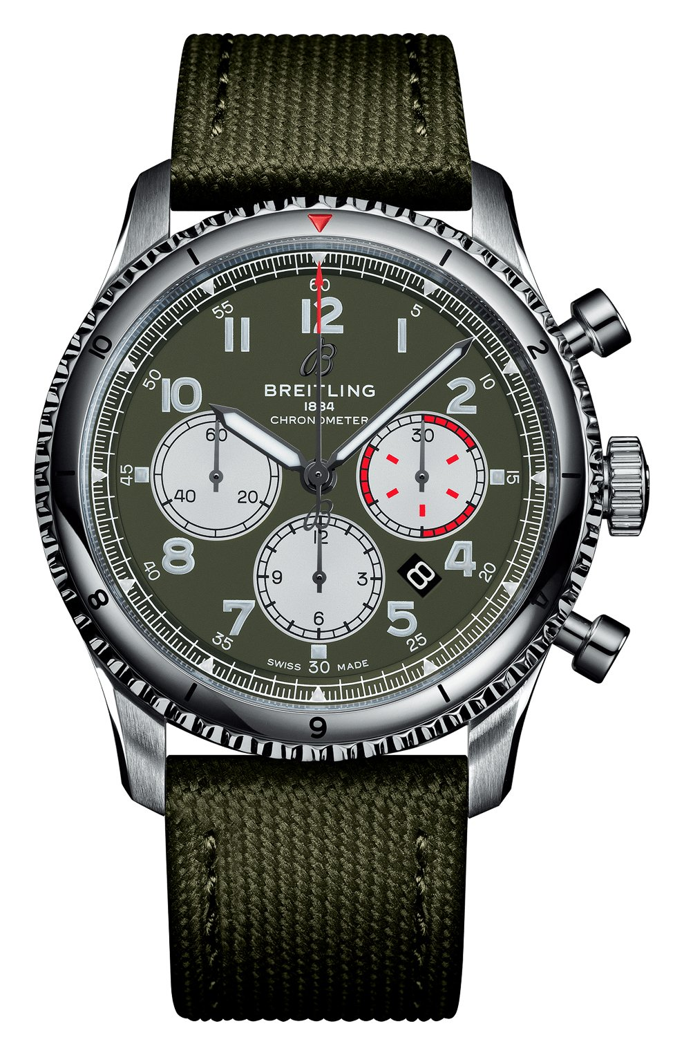 Мужские часы aviator 8 b01 chronograph 43 curtiss warhawk BREITLING зеленого цвета, арт. AB01192A1L1X2   Фото 1