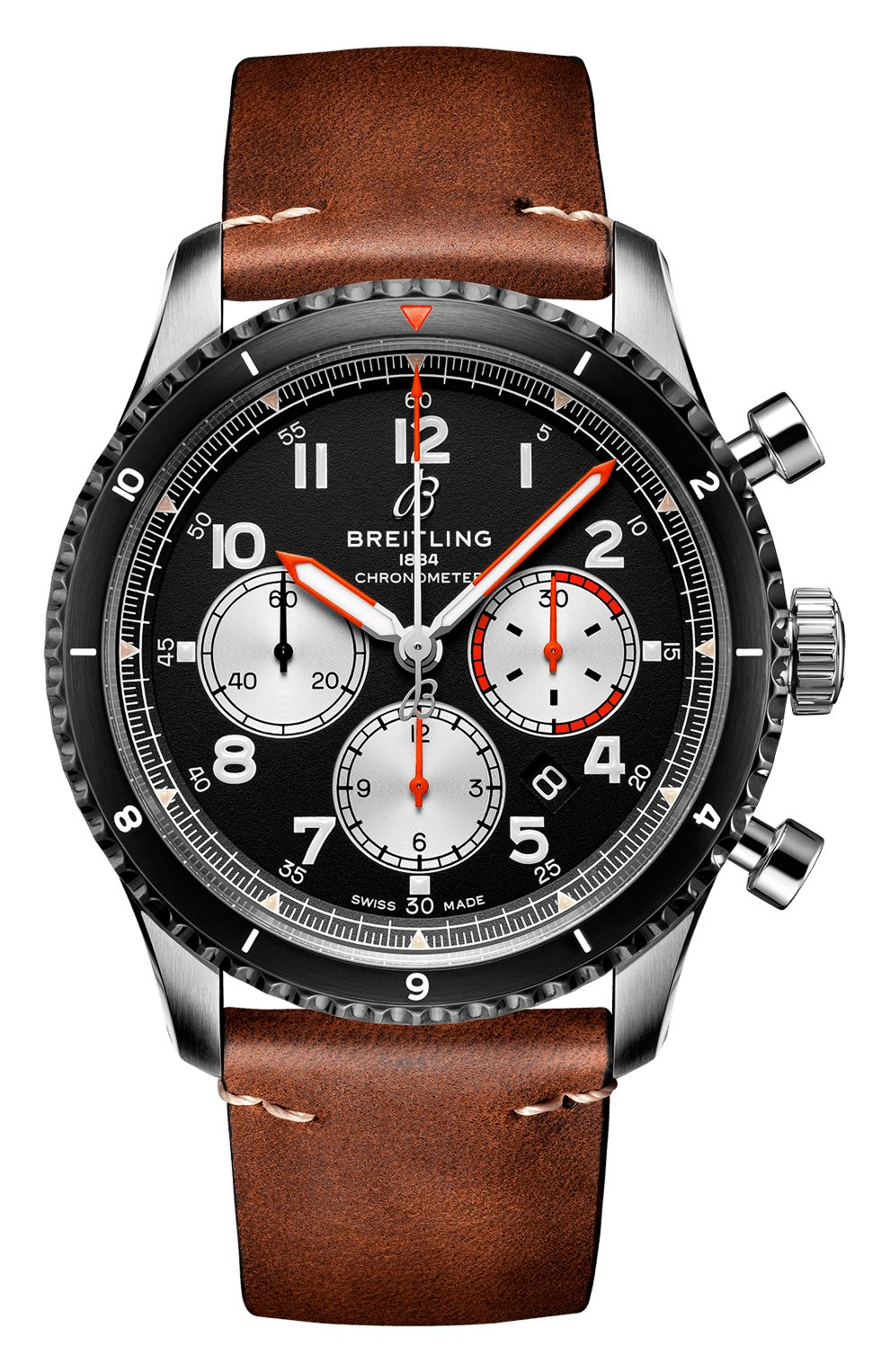 Мужские часы aviator 8 b01 chronograph 43 mosquito BREITLING черного цвета, арт. AB01194A1B1X1   Фото 1