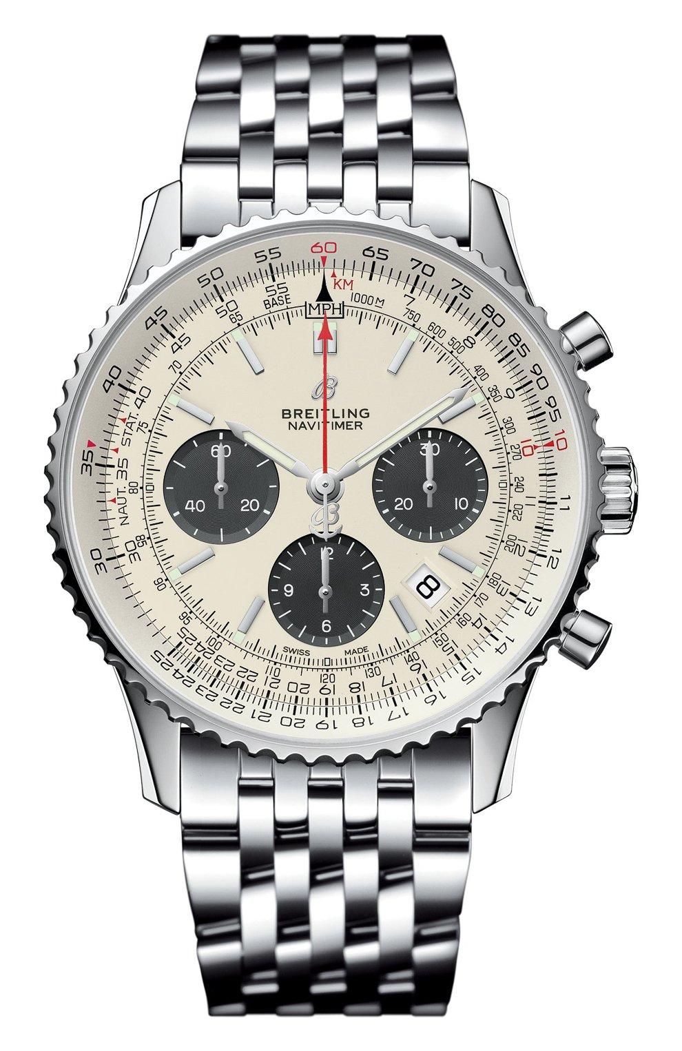 Мужские часы b01 chronograph 43 BREITLING бесцветного цвета, арт. AB0121211G1A1 | Фото 1 (Механизм: Автомат; Материал корпуса: Сталь; Цвет циферблата: Серебристый)