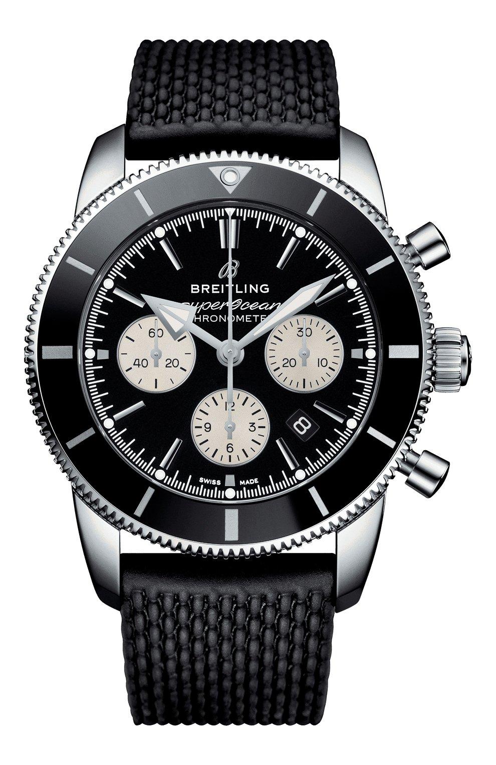 Мужские часы superocean heritage ii b01 chronograph BREITLING бесцветного цвета, арт. AB0162121B1S1 | Фото 1 (Механизм: Автомат; Материал корпуса: Сталь; Цвет циферблата: Чёрный)