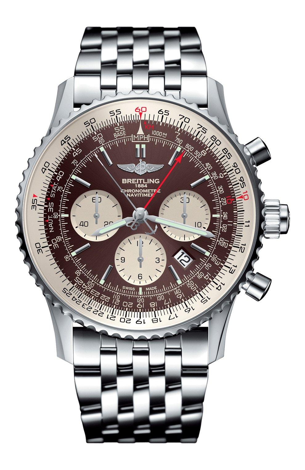 Мужские часы navitimer rattrapante BREITLING бесцветного цвета, арт. AB0310211Q1A1 | Фото 1 (Механизм: Автомат; Материал корпуса: Сталь; Цвет циферблата: Другое)