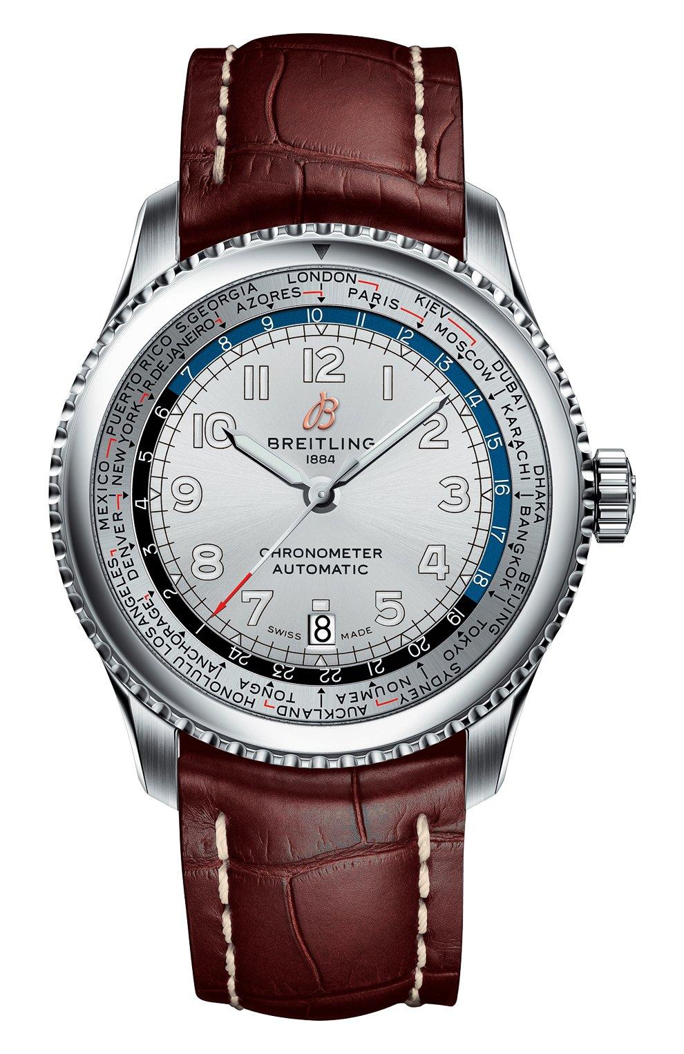 Мужские часы aviator 8 b35 automatic unitime BREITLING бесцветного цвета, арт. AB3521U01G1P1   Фото 1 (Механизм: Автомат; Материал корпуса: Сталь; Цвет циферблата: Серебристый)