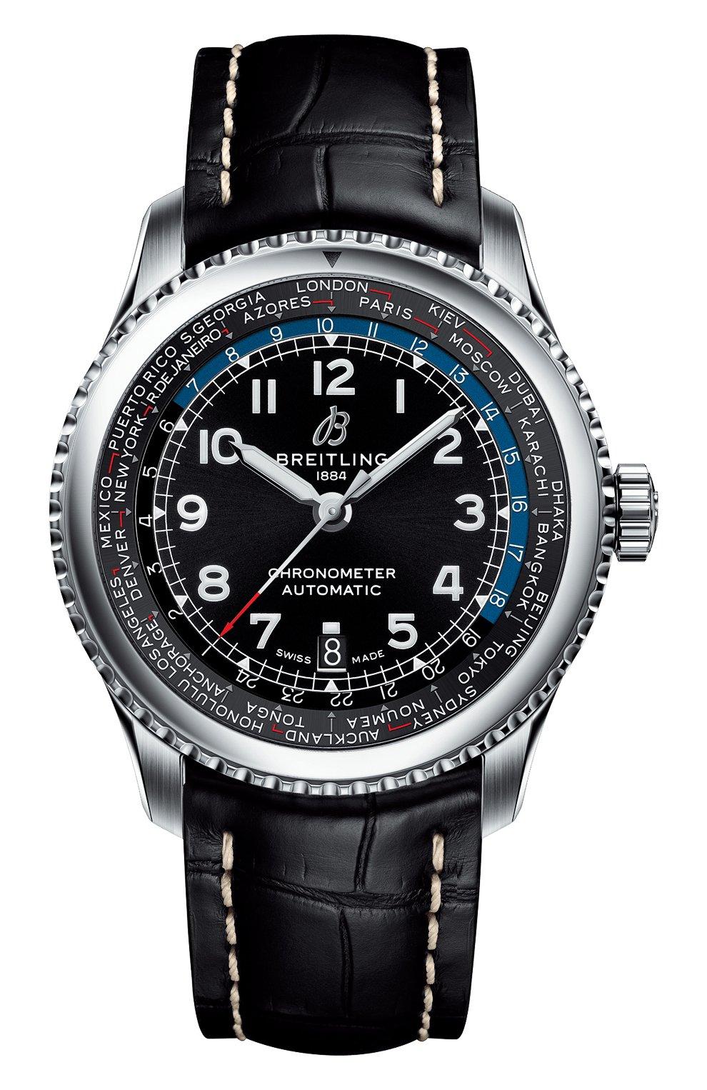 Мужские часы aviator 8 b35 automatic unitime BREITLING бесцветного цвета, арт. AB3521U41B1P1 | Фото 1 (Механизм: Автомат; Материал корпуса: Сталь; Цвет циферблата: Чёрный)
