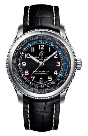 Мужские часы aviator 8 b35 automatic unitime BREITLING черного цвета, арт. AB3521U41B1P1 | Фото 1