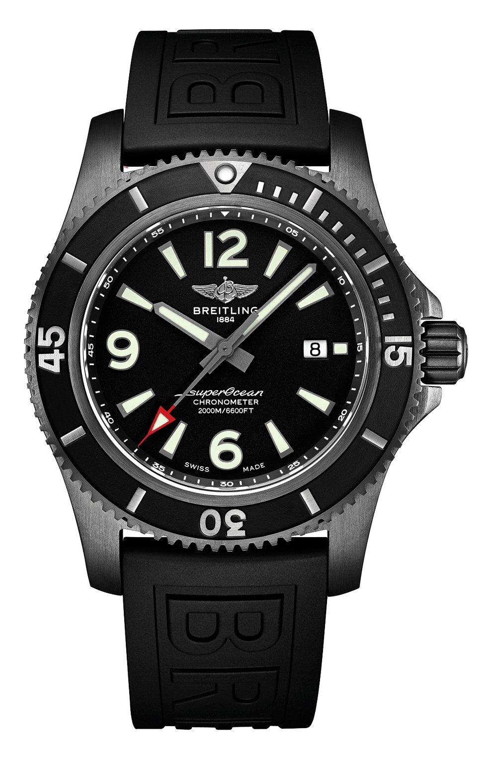 Мужские часы superocean automatic 46 blacksteel BREITLING черного цвета, арт. M17368B71B1S1 | Фото 1
