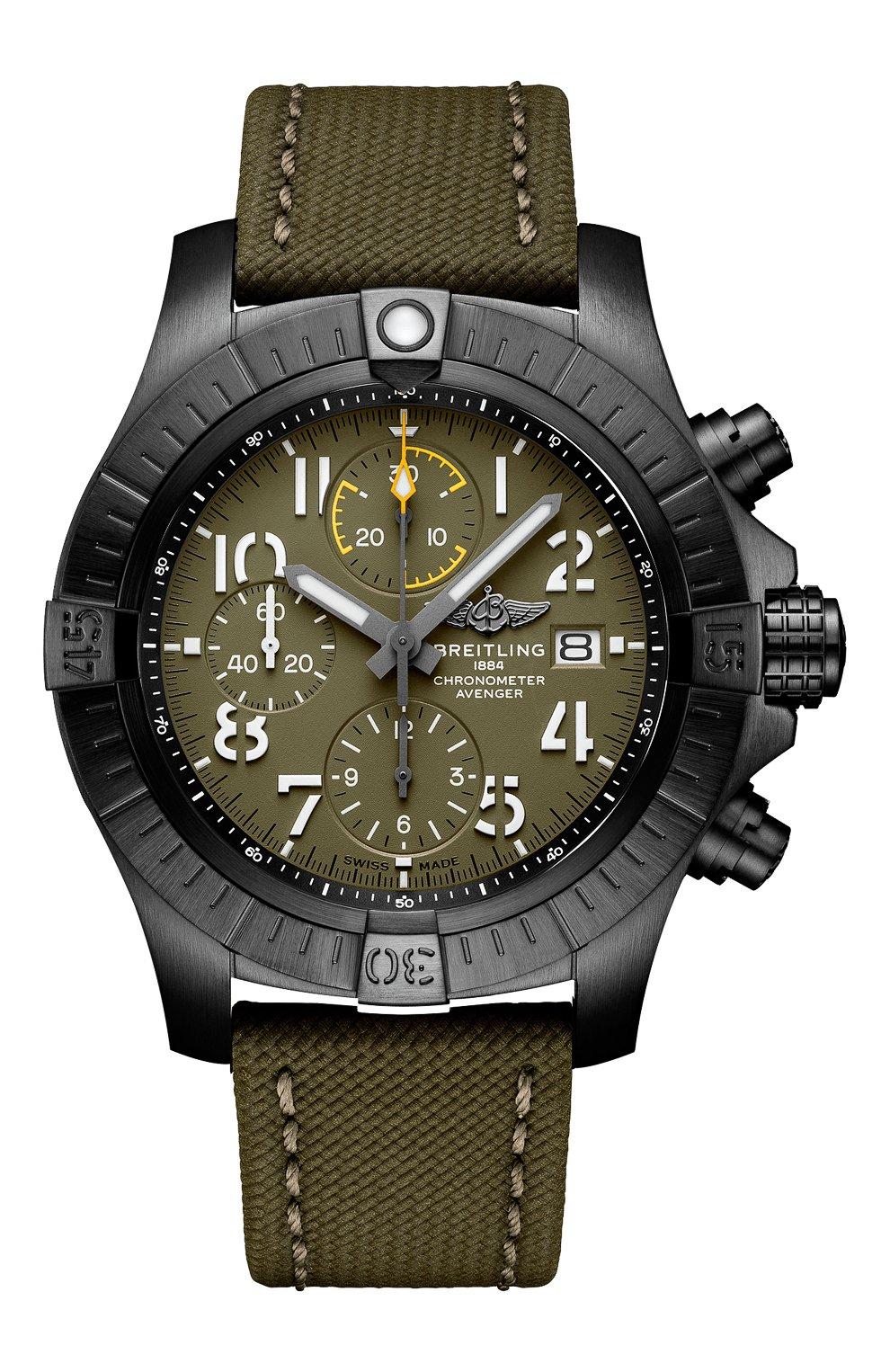 Мужские часы avenger chronograph 45 night mission BREITLING зеленого цвета, арт. V13317101L1X1 | Фото 1