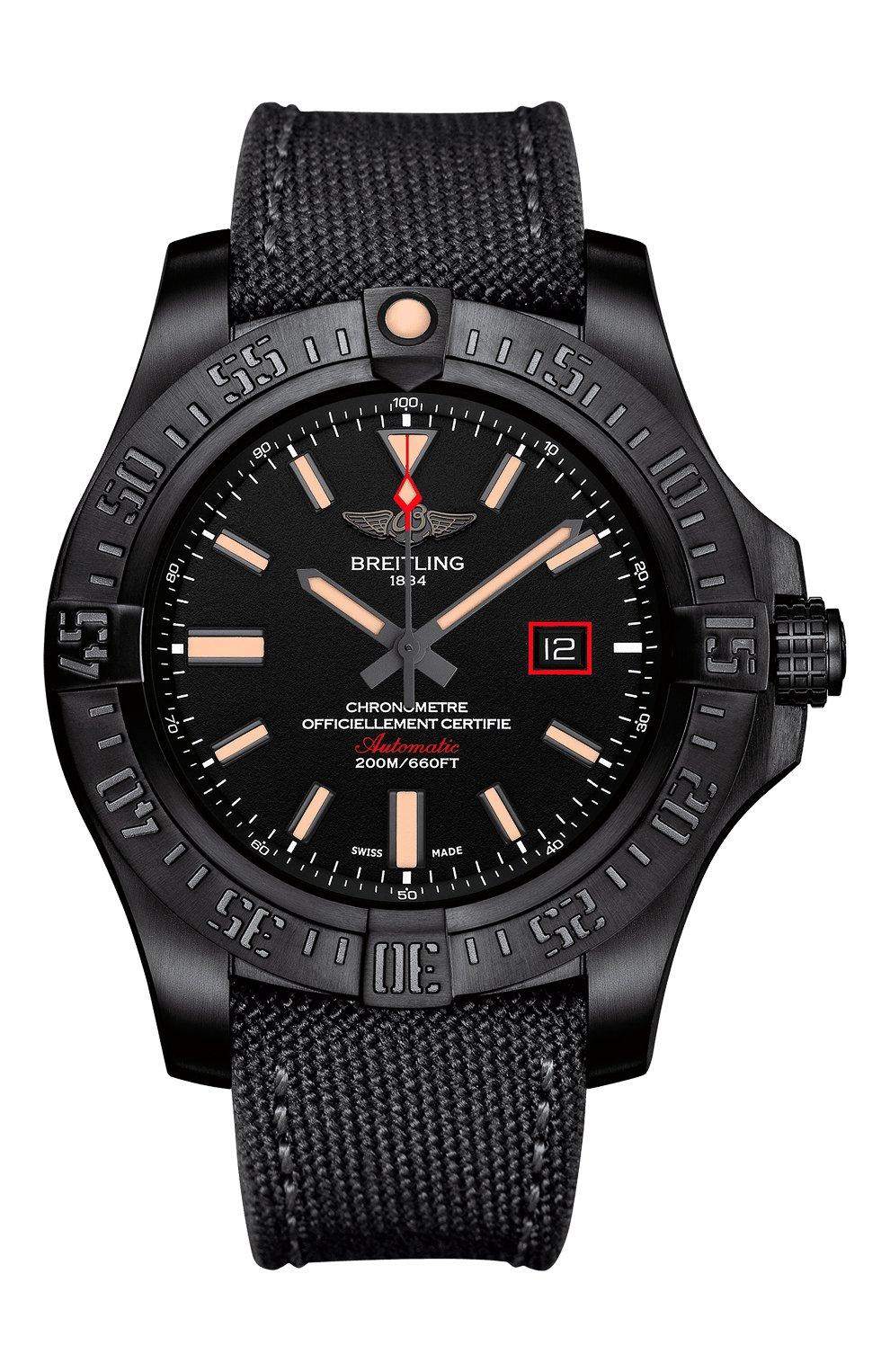 Мужские часы blackbird 44 BREITLING черного цвета, арт. V17311101B1W1   Фото 1