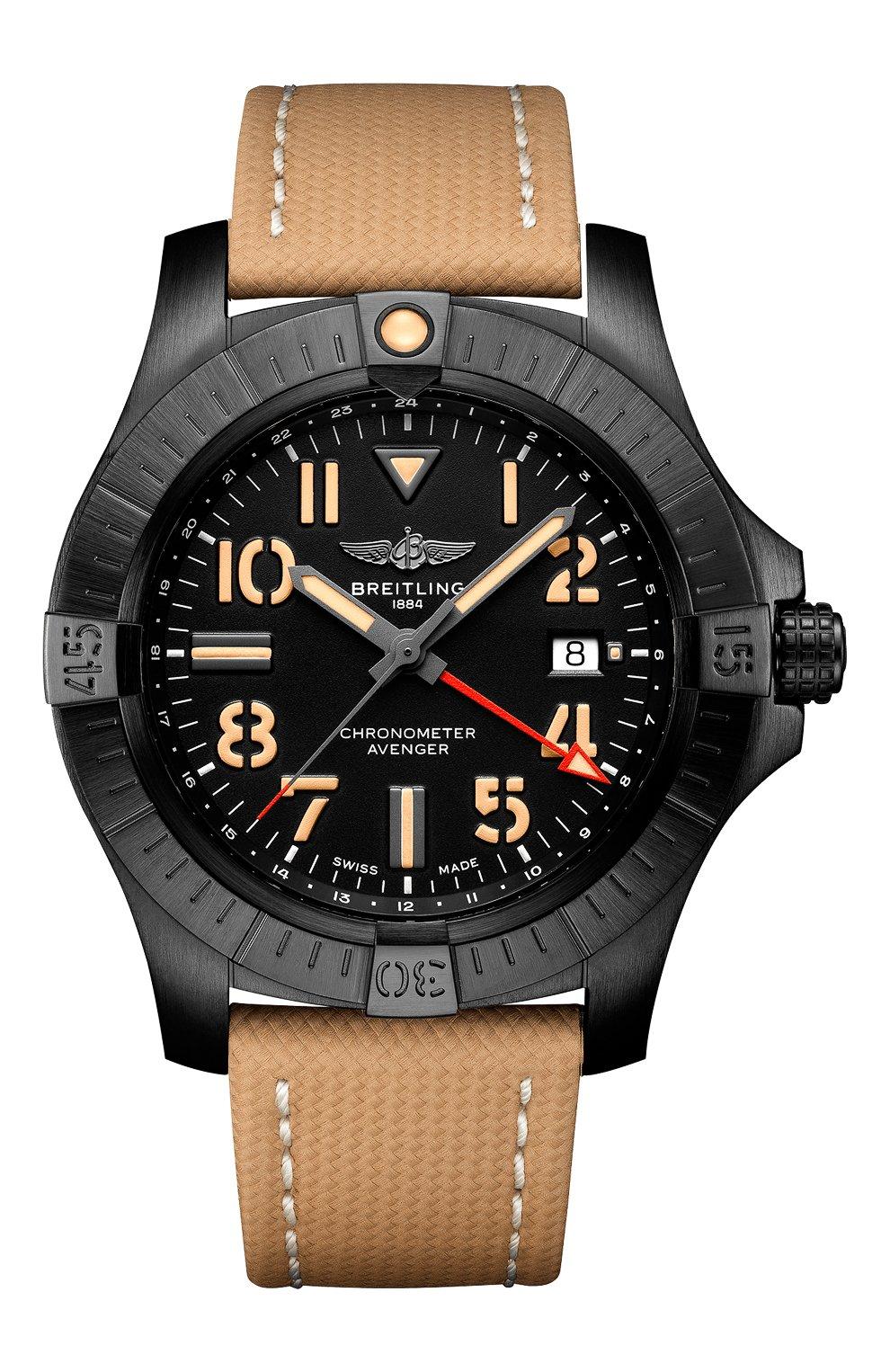 Мужские часы avenger automatic gmt blackbird BREITLING бесцветного цвета, арт. V32395101B1X1 | Фото 1 (Механизм: Автомат; Материал корпуса: Титан; Цвет циферблата: Чёрный)