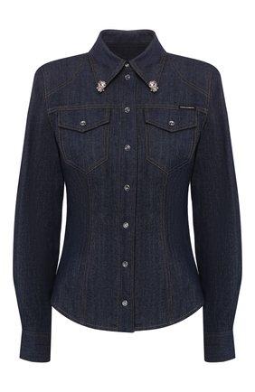 Женская джинсовая рубашка DOLCE & GABBANA темно-синего цвета, арт. F5L88Z/G890Y   Фото 1